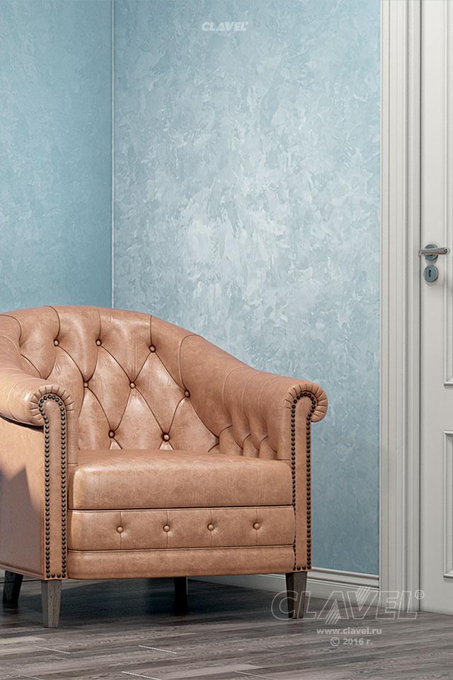 Декоративная краска с эффектом мокрого шелка - фото в интерьере. Кабинет
