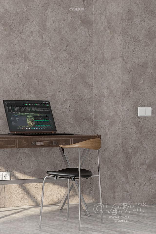 Декоративное покрытие с эффектом бетона - фото в интерьере. Гостиная