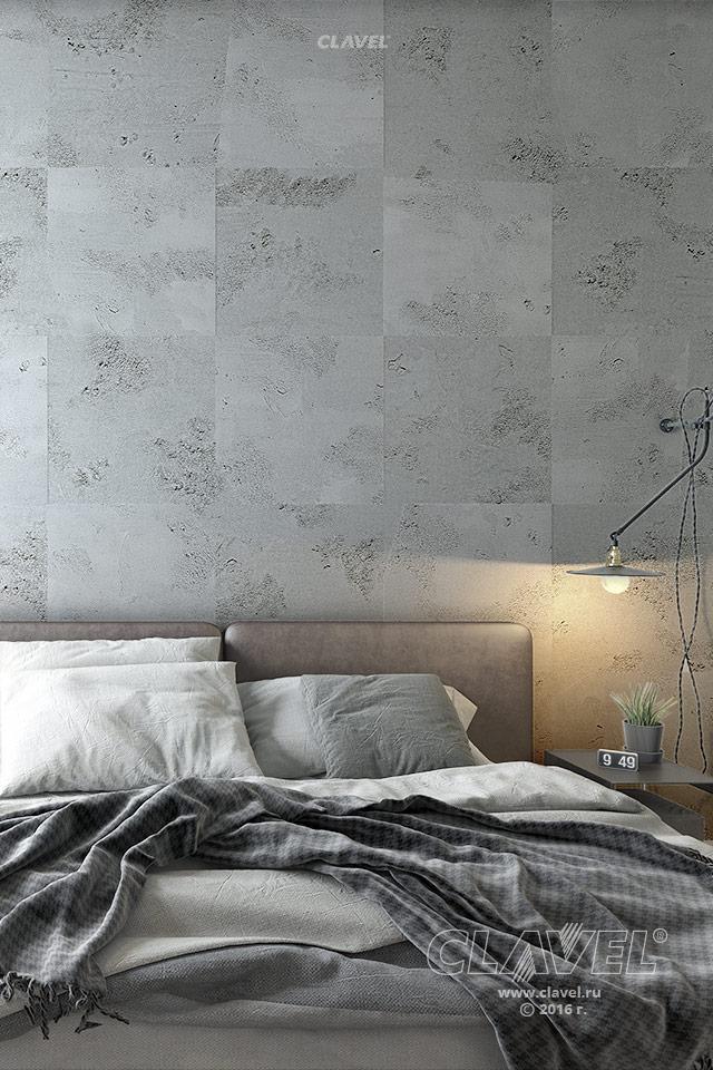Декоративная штукатурка под промышленный бетон - фото в интерьере. Спальня